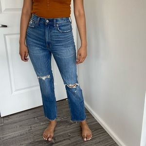 A&F Ultra High Rise Straight Jeans